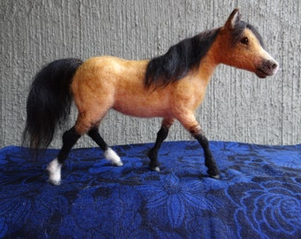 Buckskin Dun Horse Needle Felted Wool Animal By Carol Rossi Created Just For You!