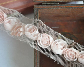 "2 Yards Lace Trim Light Pink Chiffon Rose Wedding Trim 0.59"" width"