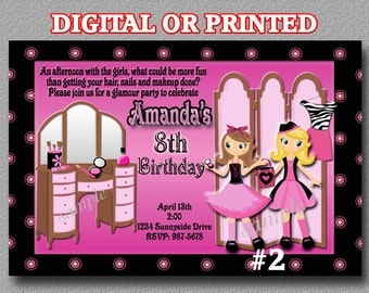 Glamour Girl Invitation YOU Print Digital File or PRINTED Birthday Party invite  Birthday Party Invitation