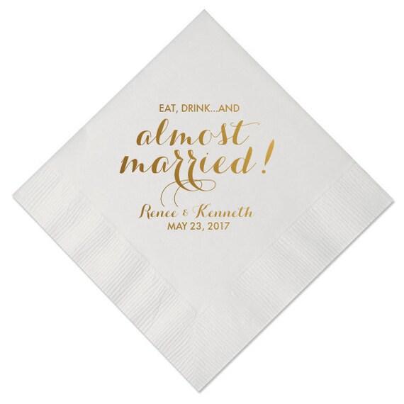 100 personalized wedding napkins beverage cocktail