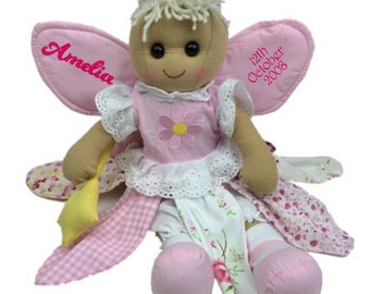 Personalised Traditional Rag Doll, FAIRY, Birthday, Wedding, Christening, Keepsake, Any name/ message
