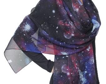 Beautiful Nebula Galaxy little Twinkle Stars  Earth Print Chiffon  Scarf Black