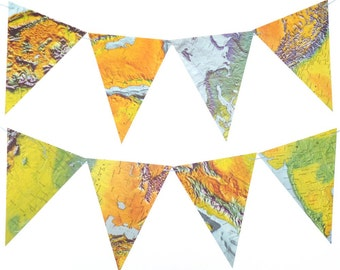 Map Bunting Travel Theme Bon Voyage Party Decorations - Map Gift - Travel Decor Wedding Bridal Baby Shower Decor - Bright Colours