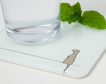 Meerkat Coasters, Set of 2, Recycled Glass, Gift for Meerkat Lovers, Contemporary Coasters