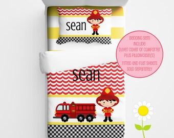 Personalized Firefighter Bedding for Kids - Fire Truck Duvet or Comforter - Personalized Duvet Set for Boys - Custom Kids' Comforter