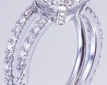 18K White Gold Cushion Cut Diamond Egagement Ring And Band 2.30ctw H-VS2 GIA