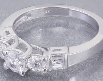 14k White Gold Round Cut Baguettes Diamond Engagement Ring Prong Set 0.60ctw