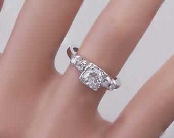 14k White Gold Round Cut Diamond Engagement Ring Art Deco Antique Style 0.62ctw H-VS2 EGL USA