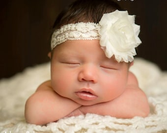 MORE COLORS Baby Headband Infant Headband Toddler Headband Newborn Headband Ivory Headband Christening Headband Baptism Headband