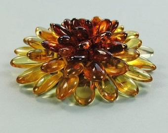 Handmade genuine Baltic amber brooch flower