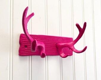 Hot Pink Cast Iron Antler Hooks - Deer Hooks - Jewelry Holder - Towel Hook