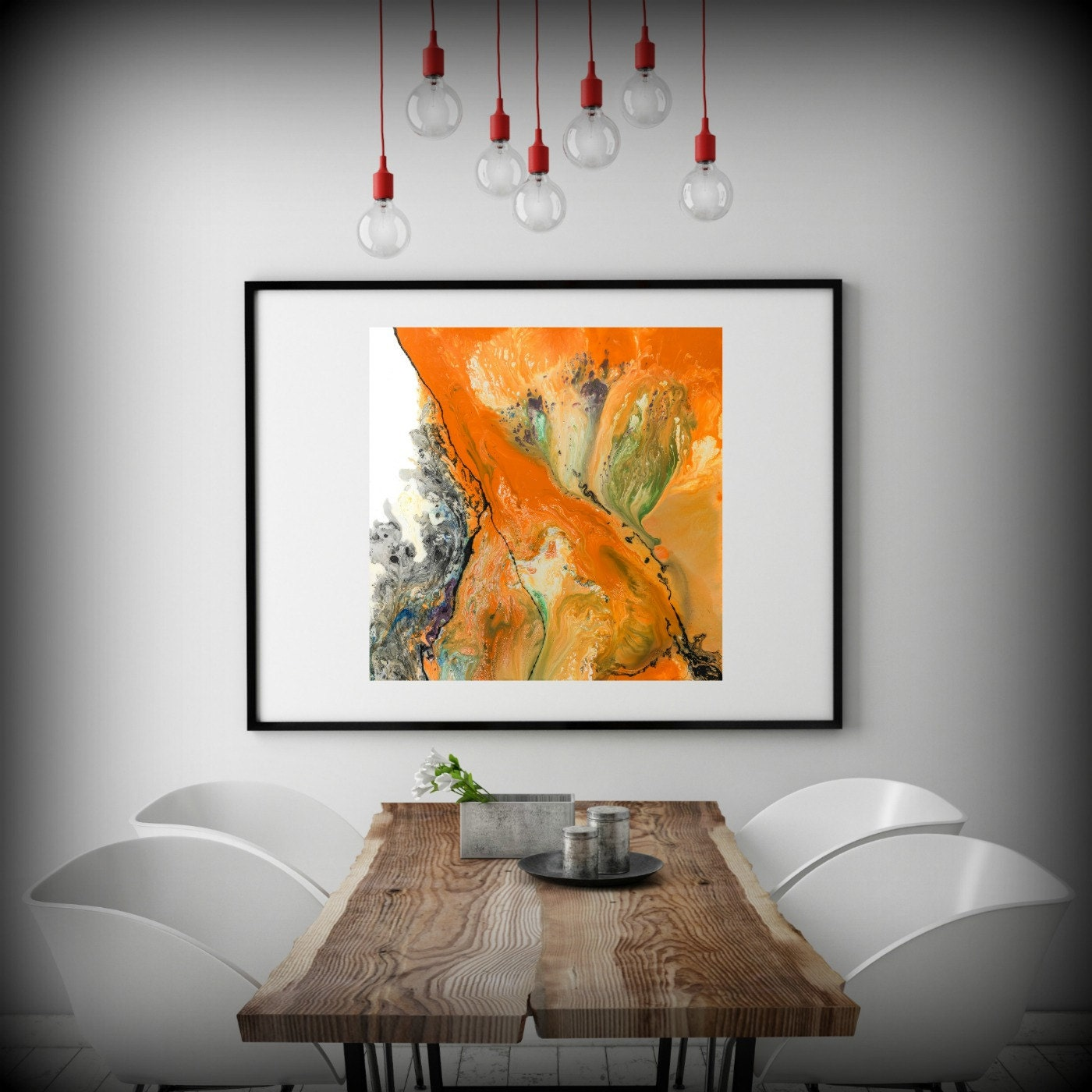 LIVING ROOM DECOR Square Wall Decor Orange Art Dining Room