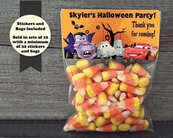 Cars Halloween Party Favors, Halloween Favor Bags, Halloween Party Bags, Cars Favor Bags, Cars Party Bags, Lightning Mcqueen Party Favors