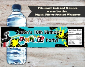 Paintball Water Bottle Labels, Paintball Water Bottle Wrappers, Paintball Birthday Party Favors, Paintball Birthday Party, Water Labels