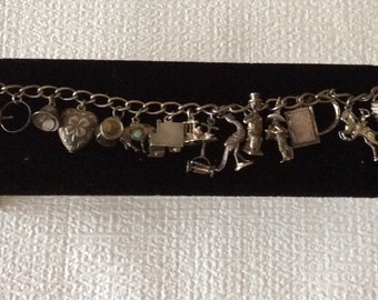 Antique Sterling Charm Bracelet With 16 Fabulous Charms, Collectible Charms