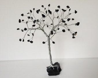 Large black and silver gemstone Tree. Black Obsidian Crystal Tree. Black Gemtree Sculpture. Wire tree ornament