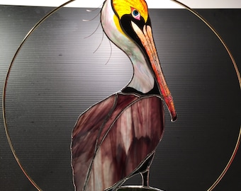 Pelican stained glass suncatcher panel