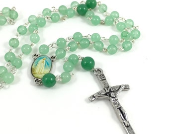 Green Aventurine Rosary; Green Rosary; Gemstone Rosary; Green Prayer Beads; Catholic Rosary