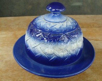 Antique Cobalt Flow Blue And White Butter Cheese Dish Covered With Cherries And Basket Weave Decorated Lid