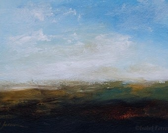 Original abstract landscape painting, acrylic art, mountains and sky, wall decor,expressive brush, RISE, 5x7 inches