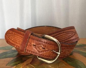 Brown Leather Belt Vintage Metal Buckle