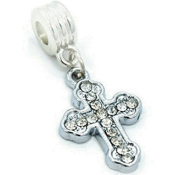 Dangling Cross Bracelet: Cross Charm Dangle Bead Spacer For Snake Chain By 4SeasonDeals