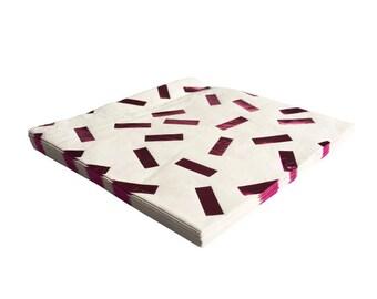 PINK CONFETTI NAPKINS (Set of 20) - Metallic Pink Confetti Napkins (16.5cm x 16.5cm / 6.5 Inches x 6.5 Inches)