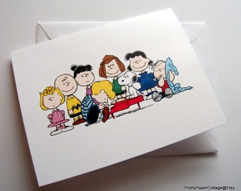 Peanuts Gang, Notecards, Invitations, Thank You Cards, Baby Shower, Birthday Party, Set of 6 or 12