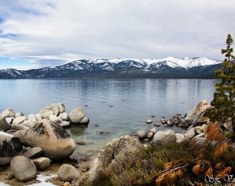 Scenic Lakeview in the Mountains Lake Tahoe Landscape Digital Print