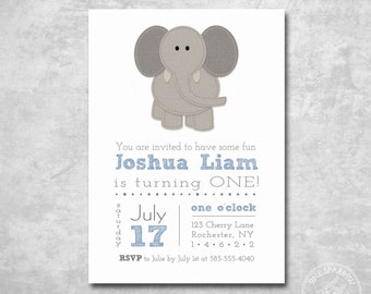 Elephant Birthday Invitation Boy, Burlap/textured