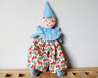 Vintage Beanbag Clown Handmade Feedsack Fabric Embroidered