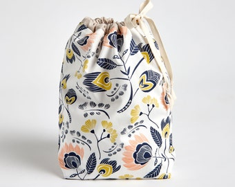 Drawstring Bag with Waterproof Lining, Knitting Project Bag, Drawstring Pouch, Flora by Made on Main VT