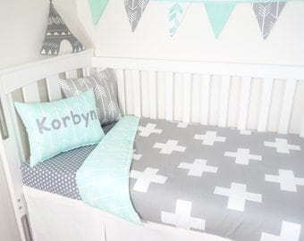 Grey and mint crosses, arrows gender neutral nursery set