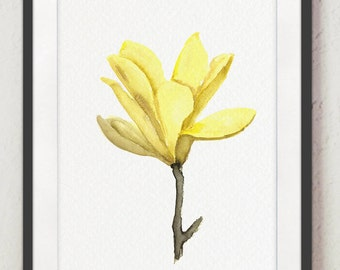 Yelow Flowers Watercolor Painting Abstract Minimalist Wall Decor, Magnolia Flower Botanical Illustration Home Garden, Mother's Day Gift Idea
