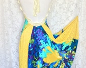 Summer Fantasy Open back halter dress. Tango Dress. Evening Dress