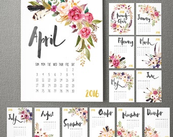 2017 Monthly Wall Calendar / 2016 Monthly Wall Calendar / 2016 Calendar , Watercolor Flower , Wall Calendar, Gift, Gifts for Her  (cal0001)