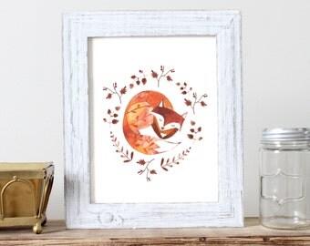 Sleeping Fox Print -  Print of Watercolour Illustration