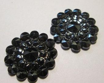 2 Vintage Black Gunmetal Glass Cabochons