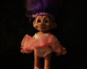 Vintage 90s Russ Treasure Troll, Ballerina Troll, Purple Hair Troll, Vintage Treasure Troll, 10 Inch Tall Troll, Russ Treasure Troll