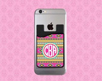 Personalized Phone Caddy - Credit Card Holder - Monogrammed Cell Phone Card Caddy - Monogram Credit Card Holder