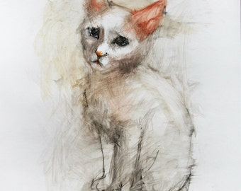 Cat Watercolor Painting. White Cat Painting. Cat Wall Art. Cat Illustration. Cat Wall Decor. Cats watercolor portrait. FREE SHIPPING!