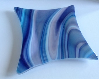 Blue and Purple Swirl Fused Glass Plate