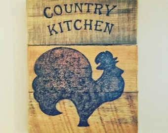 Country kitchen sign, Reclaimed wood, Wood burned sign, Rooster kitchen sign, Rustic sign