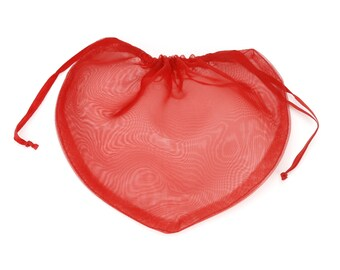 SALE! Free shipping! Pack of 48 Heart shaped sheer pouches -8 colors in 3 sizes- Great for jewelry, potpourri, Valentines gifts! (SPHxx-xx)