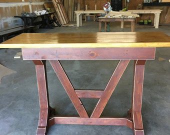 2 Drawer Farmhouse Architectural English Style Bar Table
