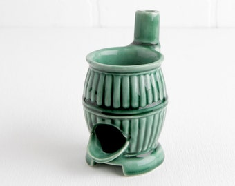 Vintage Green Pot Belly Stove Planter or Ashtray, Ceramic Drip Tray