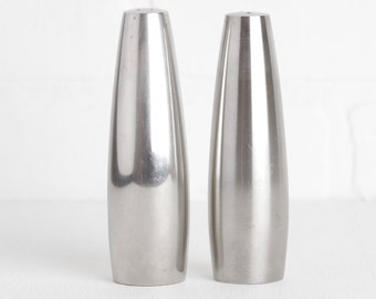 Vintage Mid Century Modern or Atomic Salt and Pepper Shakers, Dansk Stainless Steel Shakers by Jens Quistgaard