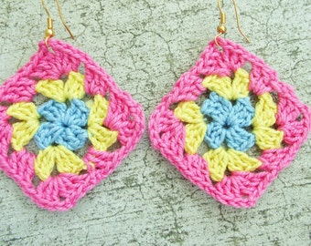 Crocheted Granny square earrings, in pink yellow and blue