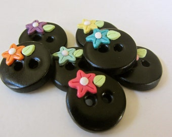 Colorful Flower Buttons ~ Set of 7