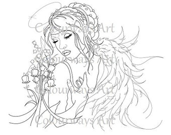 "Instant Download ""Lily of the Valley"" 300dpi jpg. Angel with flowers, female ethereal digi stamp. For personal and light commercial use"